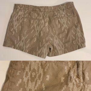 Tan Shorts Embroidered Navaho Print ABS Sz 4